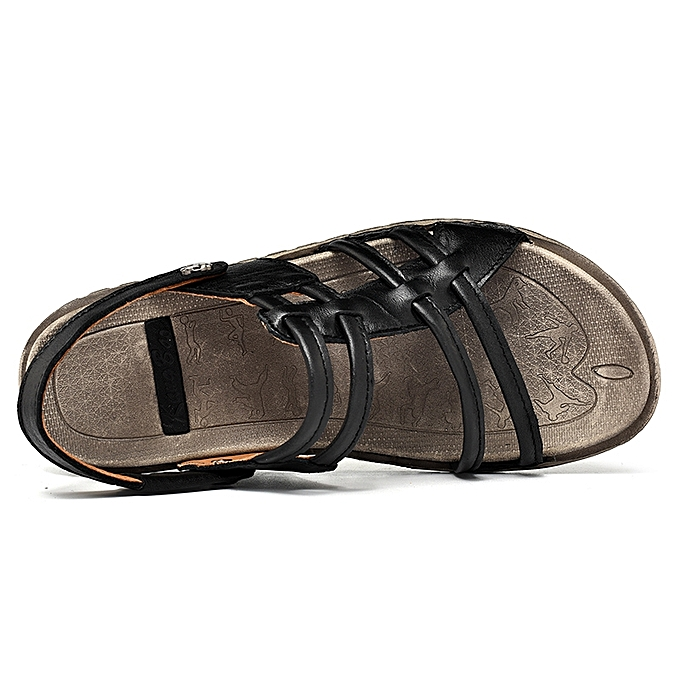 a7bcf209db5c ... Men s Sandals Leather Strap Sandal Open Toe Casual Shoes Outdoor Beach  ...