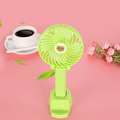 Small Fan Mini USB Rechargeable Hand-held Fan With Base Battery High Wind Power
