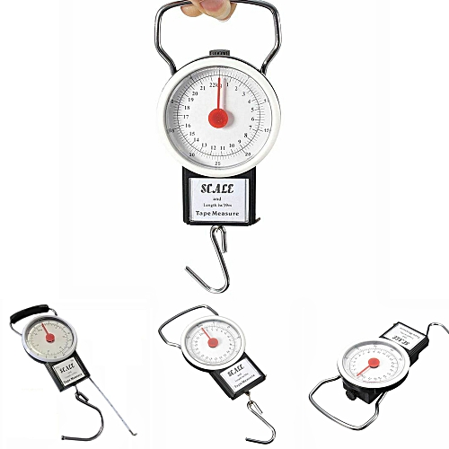 Portable Luggage Weight Hook Scale With Tape Measure 22kg 50 Lb Kitchen Tool