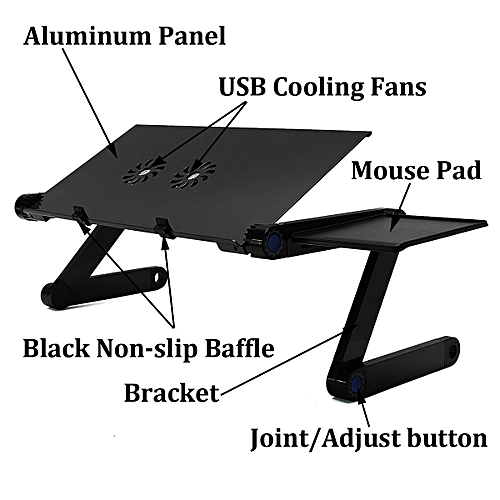 360° Aluminium Alloy Adjustable Folding Computer Laptop Desk With Cooling Fans New Laptop Stand Holder Lapdesks For Notebook PC Black