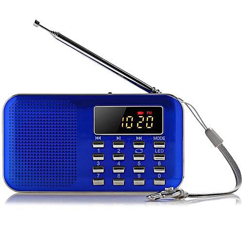 FM Radio Speaker USB TF Mp3 Player Mini Portable LED Light