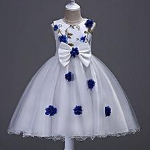 9e0e40ce23 Girl  039 s White Dress With Blue Flower