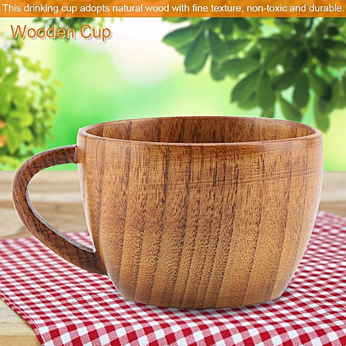 Portable Natural Wood Cup With Handle Wooden Teacup Coffee Beer Juice Drinking Mug (#3)
