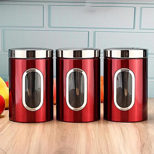 3pcs Stainless Steel Window Canister Tea Coffee Sugar Nuts Jar Storage Set