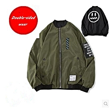 dd289df10ac Bomber Jacket Men Pilot With Patches Green Both Side Wear Thin Pilot Bomber Jacket  Men Wind