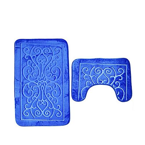 3D Dolphin Flannel Toilet Mat Two-Piece Bathroom Combination Set Blue