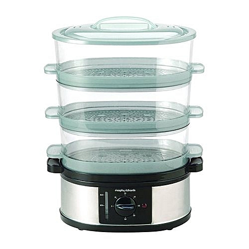 Fabulous Three-Tiered Food Steamer - 9 Litre - 600W- Morphy Richards 3-Tier Food Steamer - Stainless Steel