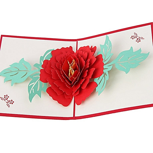 Christnas 3D Pop Up Cards Peony Flowers New Year Wedding Mother's Day Greeting