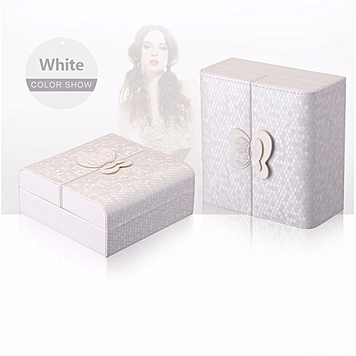 Jewelry Packaging Box Casket Storage Box Earrings Rings Exquisite Makeup Case-White