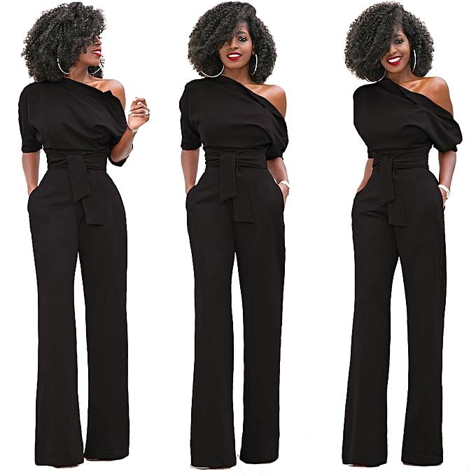 8d0334c5cce Hot Sale Women S One Shoulder Solid Jumpsuits Wide Leg Long Romper Pants  With Belt