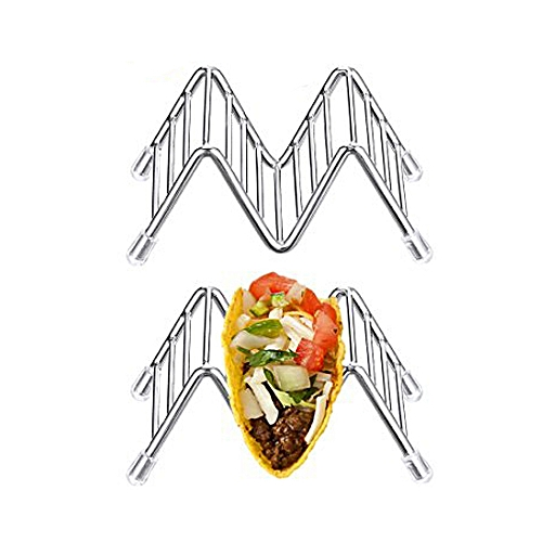 Wave Shape Stainless Steel Taco Holder Display Holders Kitchen Food Rack Shell A