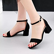 2ef0c279cb42 Women Lovely Heel Sandals With Ankle Strap Ladies Shoe-Black