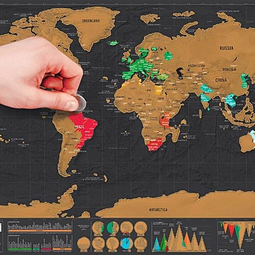 Mini Black Deluxe Travel Scrape World Map Poster Traveler Vacation Log Gift