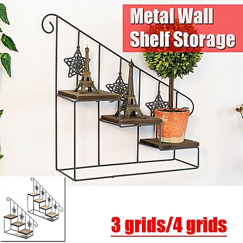 Metal Iron Wpod Wall Shelf Storage Staircase Flower Plant Stand Display Holder 38x34cm