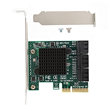 PCI-E 4X To SATA 3.0 Expansion Card 6 * SATA 520MB 6 Gbps PCI-E Expansion Adapter Card Equipped With ASM1062 + 1093 Main Control Chip For Small Chassis