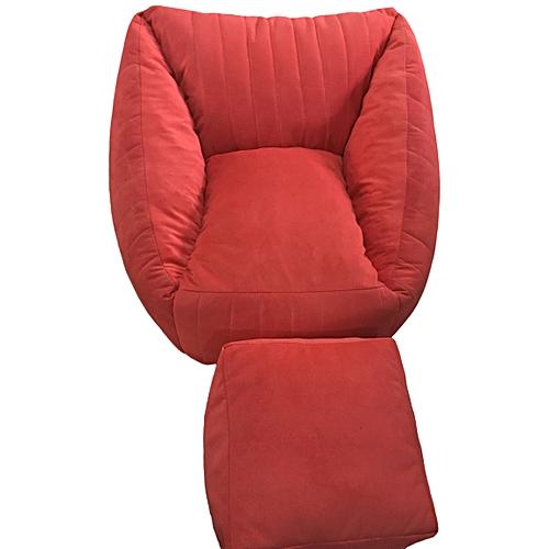Bean Bag Lounger Sofa, Foot Rest & 1 Pillow - Light Red