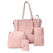 4Pcs Luxury Fashion Women Tassels Wallet Card Holder Handbag Crossbody Bag  Set-Pink ce10b74c40453
