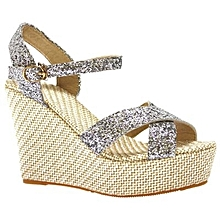 4bc266d68ea7 Wedges Sandals Silver Sparkle