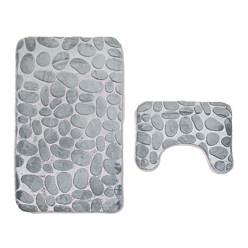 2PCS Coral Velvet Soft Non Slip Bathroom Shower Mat Toilet Floor Rug Carpet Pad