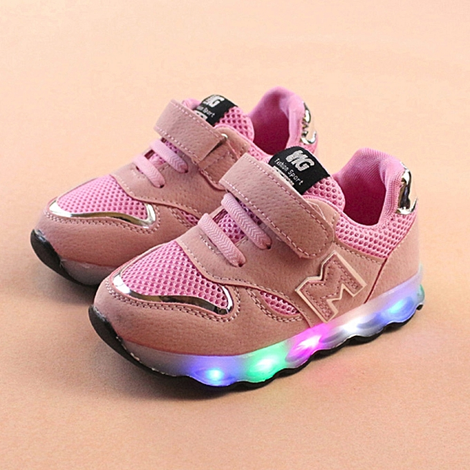 Paidndh Store Toddler Kids Mesh Shoes Children Baby Shoes LED Light Up  Luminous Sneakers- Pink a6f022222