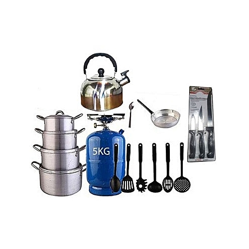 Economy Kitchen Bundle - (5kg Gas Cylinder + 4 Pots + 1 Kettle + 1 Frying Pan + 1 Set Of Non-stick Frying Spoons + 1 Small Knife + 1 Set Of Table Spoons)