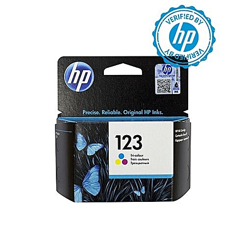 123 Tri Colour Ink Cartridge - F6V16AE + FREE HP A4 Paper