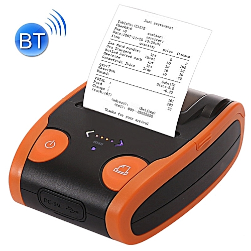 QS-5806 Portable 58mm Bluetooth POS Receipt Thermal Printer - Orange