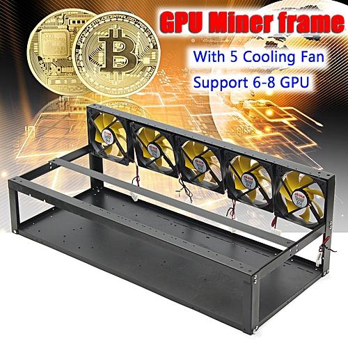 For 6-8 GPU Miner Cooling Frame Case Ethereum Bitcoin ETC ZEC With 5 Fans