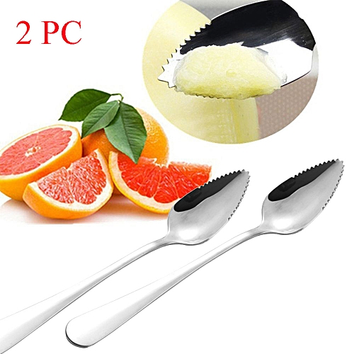 2PC Thick Stainless Steel Grapefruit Spoon Dessert Spoon Serrated Edge