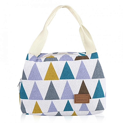 Minxin Portable Insulated Lunch Bag Tote Picnic Handbag Food Storage Container (Multicolor Triangle)