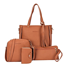 d7e2cd6fbab 4 Pieces set Fashion Composit Bag Tassels Handbag Shoulder Bag Crossbody Bag  Brown