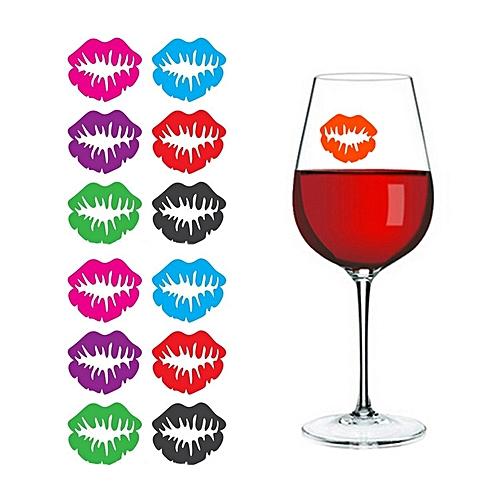 6Pcs/1Bag Novelty Dedicated Wine Glass Lip-Shaped Label Marker Random Color