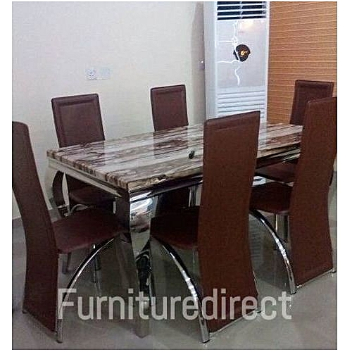 Hispanic 6 Seater Marble Dining Set ( Gift Item Available)