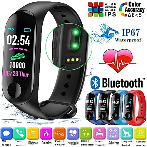 M3 Smart Band Color Screen Smart Bracelet Waterproof Blood Pressure Heart Rate Monitor Smart Wristband Android IOS
