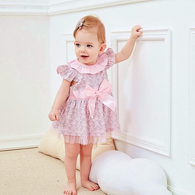 140b828412e9 Princess Baby Girls Dress Floral Summer Girl Dresses Top Quality 100%Cotton  Bow Infant Dress