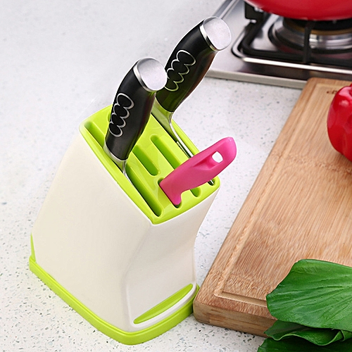Multifunction Kitchen Accessories Plastic Knife Rack Storage Rack, Size: 17.5*10.5*21.5cm (Green)