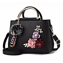 abc87374252 Flower Design PU Leather Women Handbag - Black