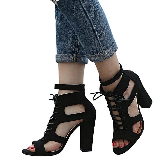 f572d9bc1d2 Fashion Bliccol High Heel Shoes Women Scrub Hollow Out Cross