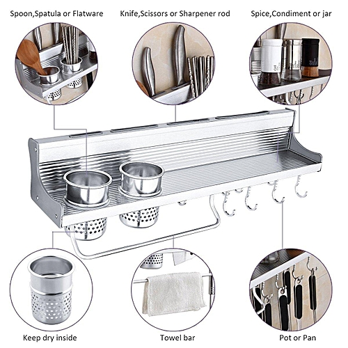 500mm 525x15x11mm Space Aluminum Alloy Kitchen Holder 8 Hooks