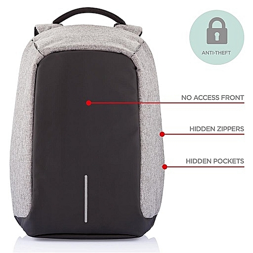 Anti-theft Laptop Notebook Backpack USB Charging Port Bag (Grey)