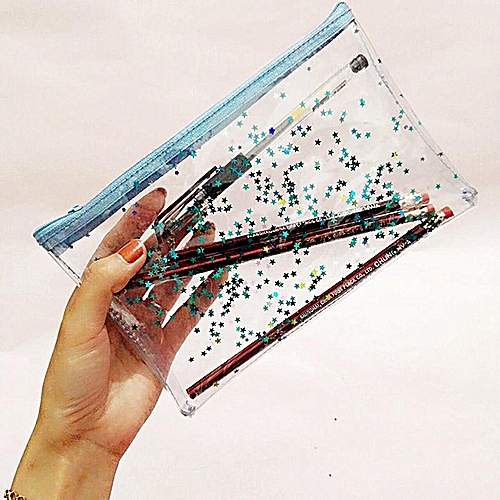4pcs Transparent Pencil Bag Pencil Stars Case School Stationery Makeup Storage Bag V