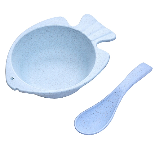 Wheat Straw Dinner Lunch Bowl With Spoon For Cute Kids Work People