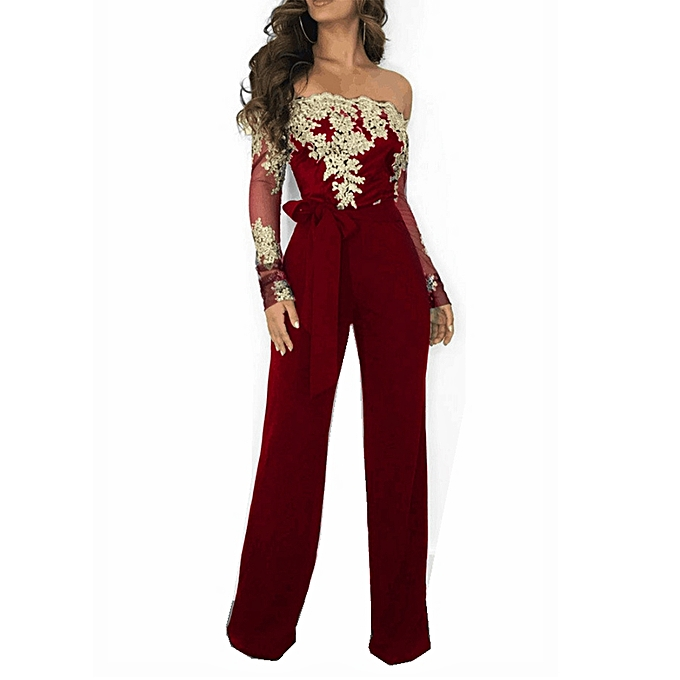 8f0c2ffd1bc Fashion Casual Lady Lace Collar Collar Wide Leg Jumpsuit Red