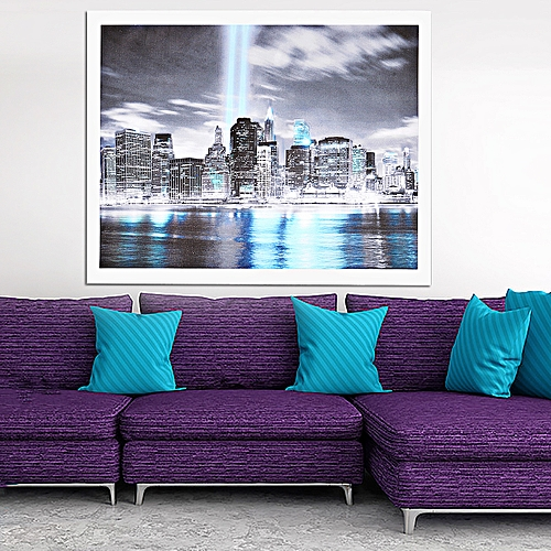 40X30cm NEW YORK CITY Manhattan Skyline Canvas Print Painting Wall Art Prints Unframed-Black + Blue