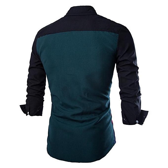5601c64759f ... New Fashion Men Long-sleeve Shirt Black   Green High Quality Cotton  Casual Style Slim