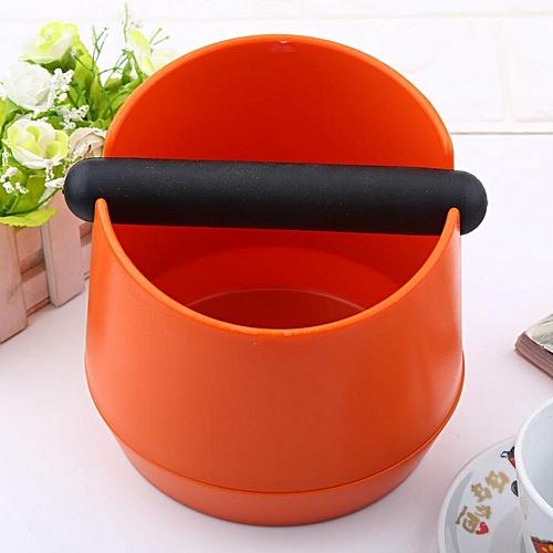 New Plastic Coffee Machine Knock Box Grind Waste Bin With Rubber Bar Orange