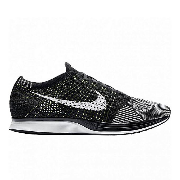 uk availability 6e5b1 47bda Nike Men Flyknit Racer OREO VOLT BLACK WHITE 526628-011