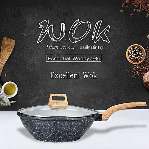 Swiss Aluminum Wok Non-stick No Lampblack Home Cooking Pan 30cm Diameter