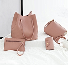 71152b6b3479 4Pcs Women Pattern Leather Handbag+Crossbody Bag+Messenger Bag+Card Package