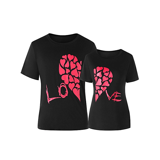 49ce65d433 Heart Print Valentines Day Matching Couple Short Sleeve T-shirt-MEN M